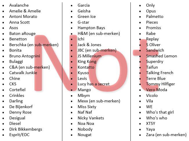 Enkele voorbeelden van kleding merken die Streisant Luxe Tweedehands niet verkoopt